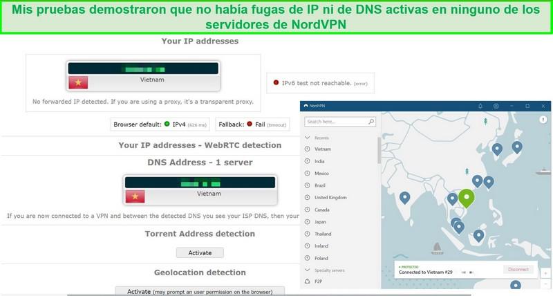 Captura de pantalla de una prueba de fugas de IP y DNS en el servidor de NordVPN en Vietnam