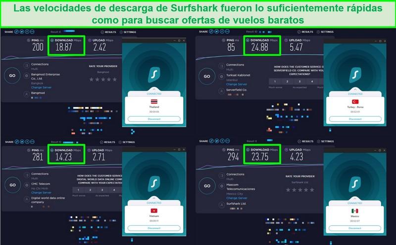 Captura de pantalla de 4 pruebas de velocidad realizadas en diferentes servidores de Surfshark