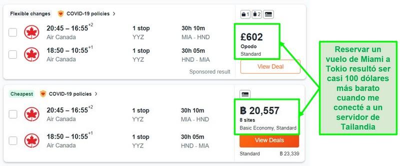 Comparación de precios de la ruta Miami-Tokio utilizando servidores en el Reino Unido y Tailandia