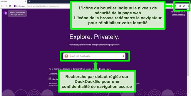 Capture d'écran de la page d'accueil du navigateur Tor avec des icônes et des fonctionnalités du moteur de recherche en surbrillance