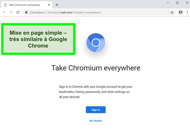 Capture d'écran de la page d'accueil de Chromium