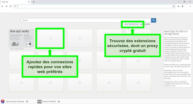 Capture d'écran de la page d'accueil du navigateur Epic Privacy avec les fonctionnalités mises en évidence