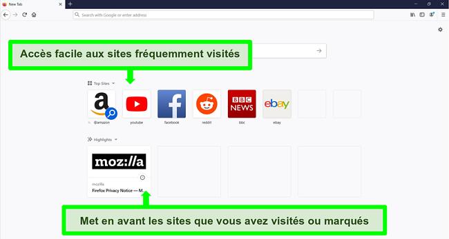 Capture d'écran de la page d'accueil de Firefox avec des fonctionnalités mises en évidence