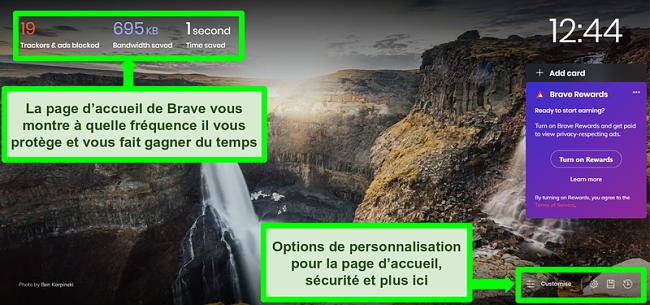 Capture d'écran annotée de la page d'accueil du navigateur Brave, mettant en évidence les fonctionnalités et les paramètres de personnalisation