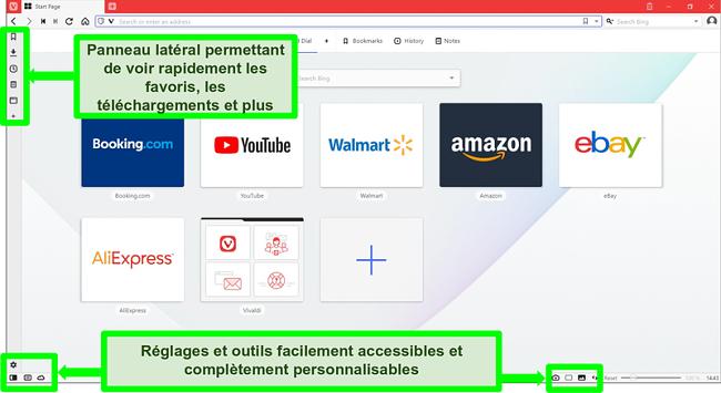 Capture d'écran de la page d'accueil de Vivaldi avec certaines fonctionnalités mises en évidence et annotées