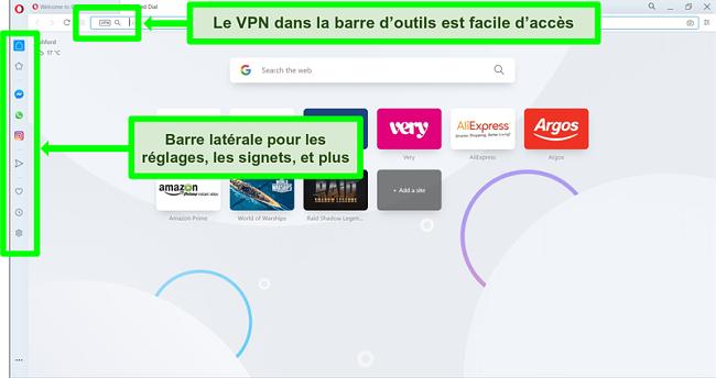 Capture d'écran de la page d'accueil d'Opera avec VPN et barre latérale en surbrillance