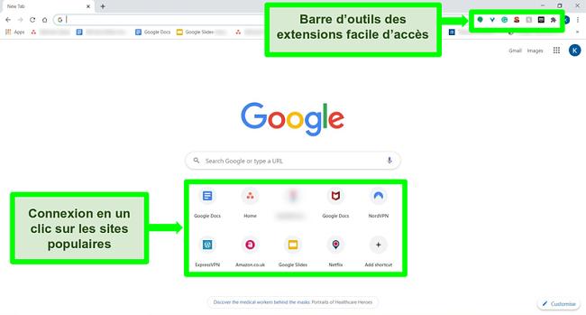 Capture d'écran de la page d'accueil de Google Chrome avec certaines fonctionnalités mises en évidence