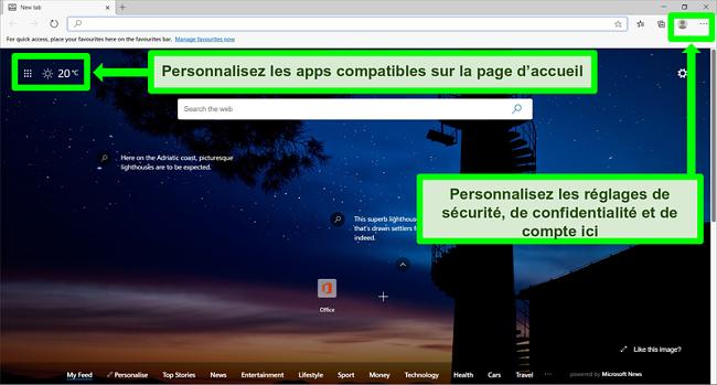 Capture d'écran de la page d'accueil de Microsoft Edge avec certaines fonctionnalités mises en évidence