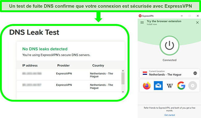 Capture d'écran d'un test de fuite DNS alors qu'ExpressVPN est connecté à un serveur aux Pays-Bas