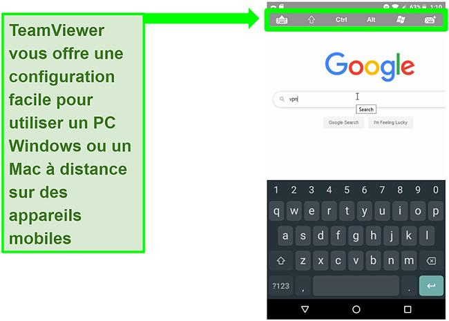 Capture d'écran des commandes de l'appareil mobile de TeamViewer naviguant à distance sur le Web sur un PC
