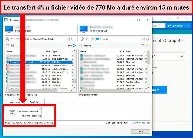 Capture d'écran des fenêtres de transfert de fichiers de TeamViewer pendant qu'un fichier vidéo est envoyé d'un PC à un autre