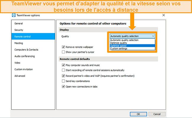 Capture d'écran des options d'accès à distance de TeamViewer et