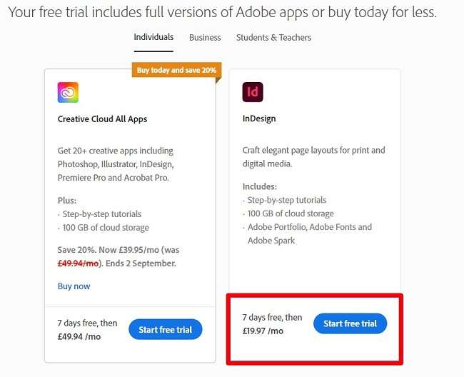 Free Trial for InDesign