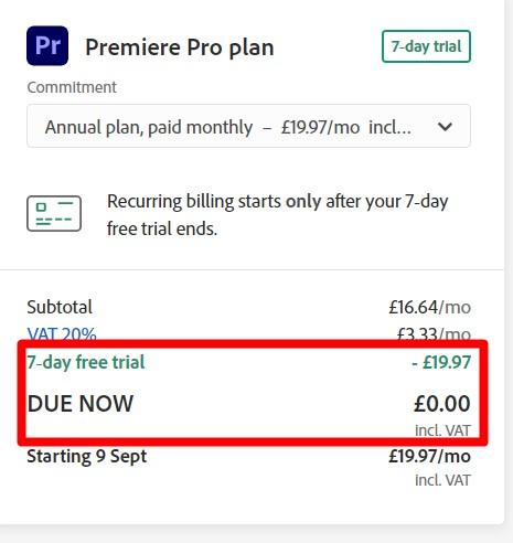 Free trial Premiere Pro