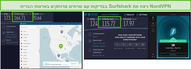 צילום מסך של NordVPN ו- Surfshark המריצים בדיקת מהירות אמריקאית.