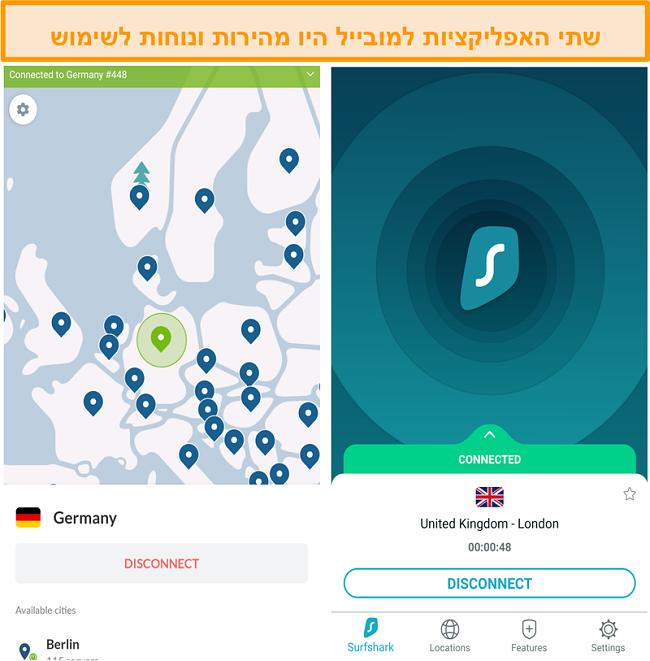 צילום מסך של אפליקציות אנדרואיד NordVPN ו- Surfshark.