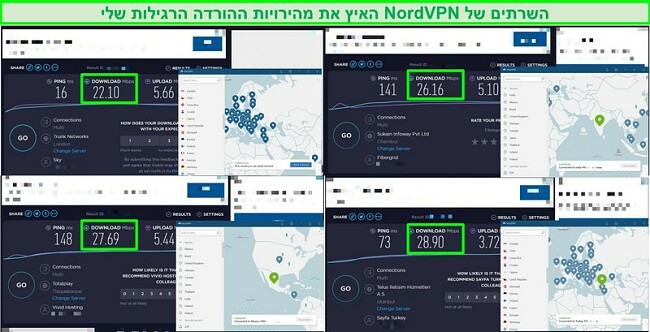 צילומי מסך של 4 מבחני מהירות המשווים את מהירות שרת NordVPN למהירות התנועה הרגילה