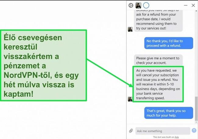 Pillanatkép arról az ügyfelről, amely visszatérítést kér a 30 napos pénz-visszafizetési garanciával a NordVPN élő csevegésében