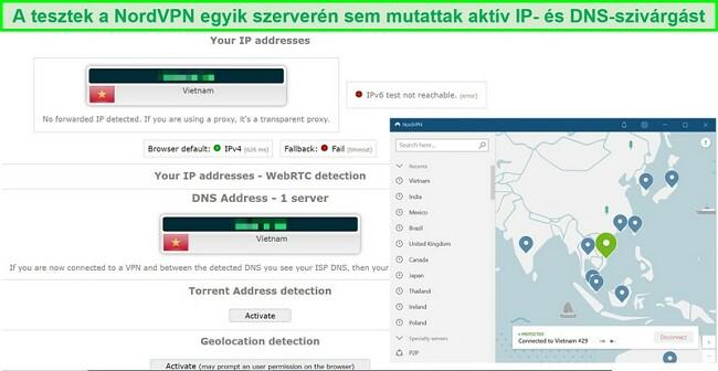 Pillanatkép egy IP és DNS szivárgástesztről a NordVPN vietnami szerverén