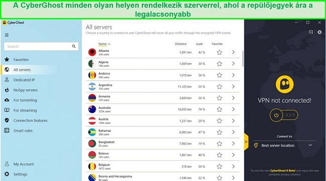 Képernyőkép a CyberGhost elérhető szervereinek listájáról