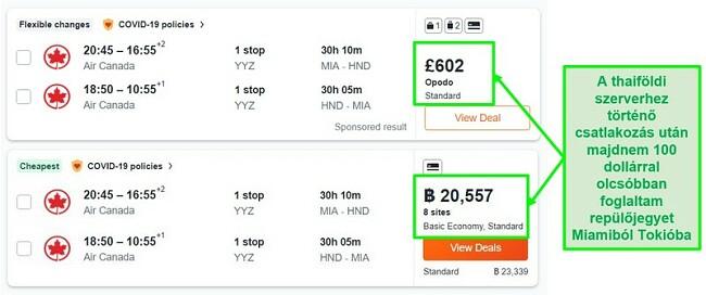 A Miami-Tokió útvonal ár-összehasonlítása az Egyesült Királyság és Thaiföld szervereivel