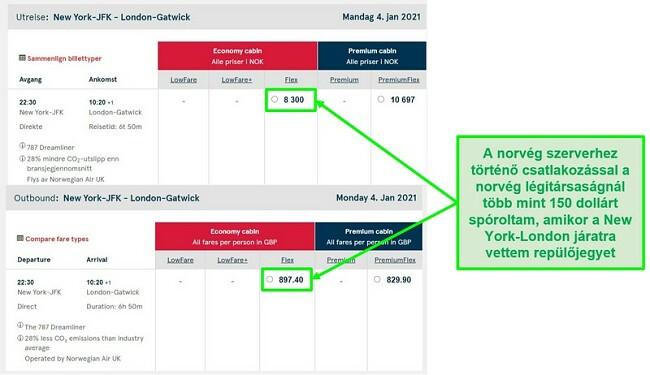A New York-London járatok ár-összehasonlítása eltéréseket mutat a norvégiai és az egyesült királyságbeli szerverekhez kapcsolódva