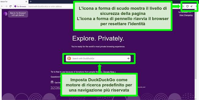 Screenshot della homepage di Tor Browser con icone e funzioni del motore di ricerca evidenziate