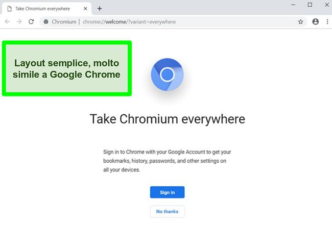 Screenshot della home page di Chromium