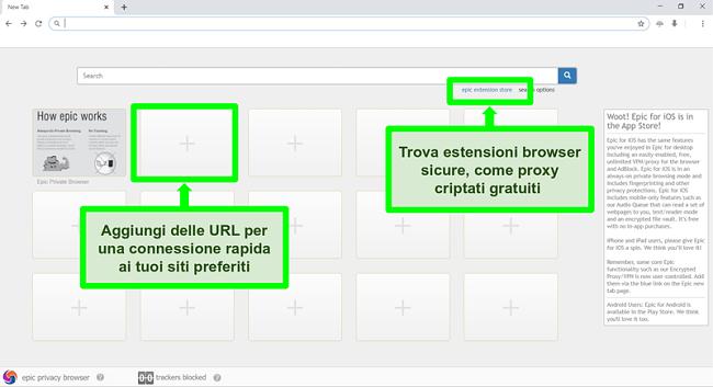 Screenshot della homepage di Epic Privacy Browser con le caratteristiche evidenziate