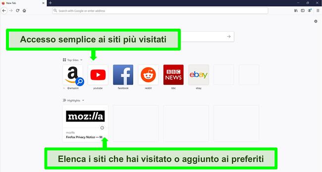 Screenshot della home page di Firefox con le caratteristiche evidenziate