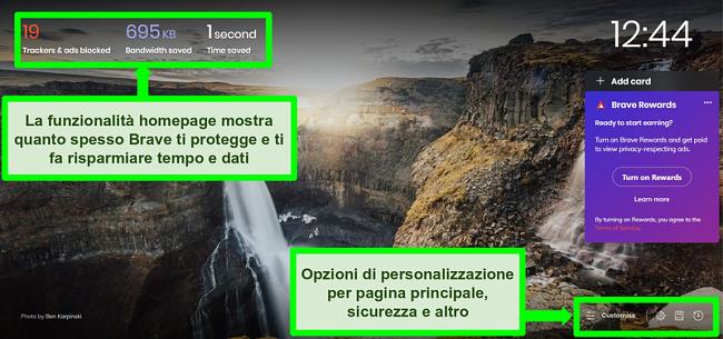 Screenshot con annotazioni della homepage del browser Brave, che evidenzia le funzionalità e le impostazioni di personalizzazione