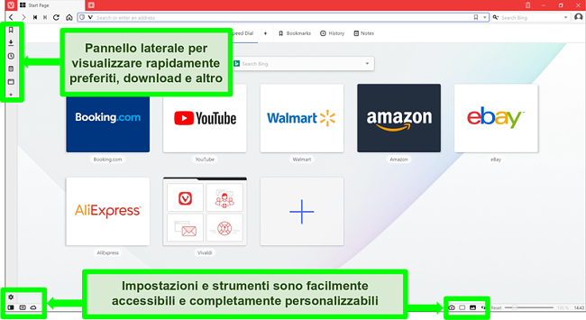 Screenshot della homepage di Vivaldi con alcune funzionalità evidenziate e annotate