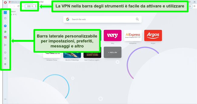Screenshot della homepage di Opera con VPN e barra laterale evidenziate