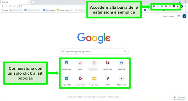 Screenshot della home page di Google Chrome con alcune funzionalità evidenziate