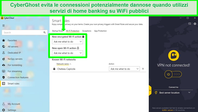 Schermata della pagina delle impostazioni delle regole intelligenti di connessione di CyberGhost