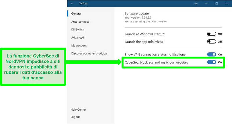 Screenshot della pagina delle impostazioni di NordVPN che mostra CyberSec abilitato