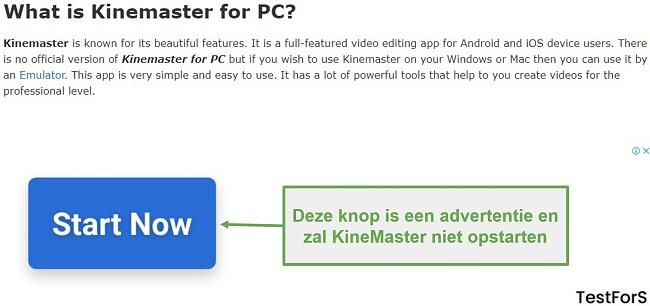 Klik niet op Ad KineMaster