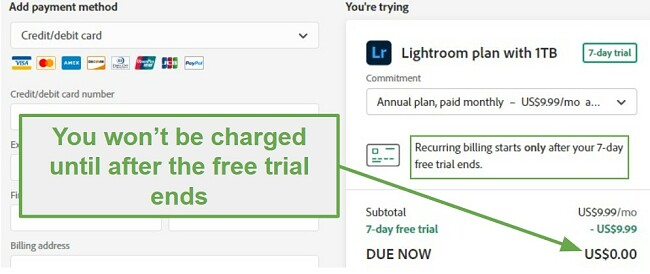 Not charged till after the 7 day trial