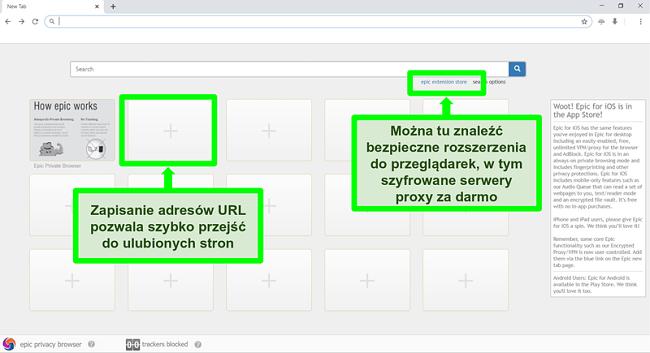 Zrzut ekranu strony głównej Epic Privacy Browser z wyróżnionymi funkcjami