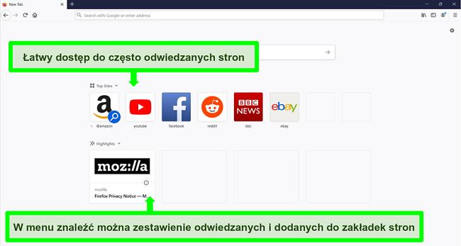Zrzut ekranu strony głównej przeglądarki Firefox z wyróżnionymi funkcjami