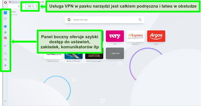 Zrzut ekranu strony głównej Opery z podświetlonym VPN i paskiem bocznym