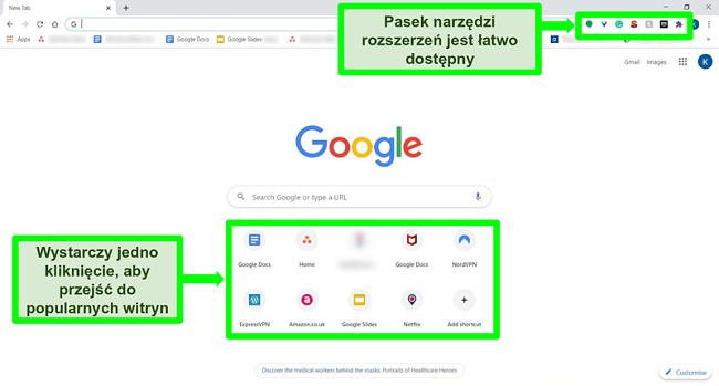 Zrzut ekranu strony głównej Google Chrome z wyróżnionymi niektórymi funkcjami