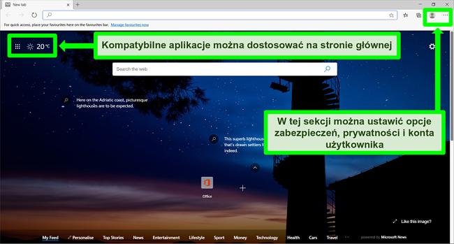 Zrzut ekranu strony głównej Microsoft Edge z wyróżnionymi niektórymi funkcjami