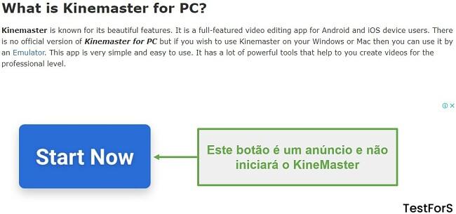 Não clique em Ad KineMaster