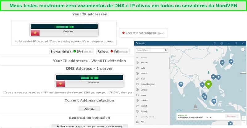 Captura de tela de um teste de vazamento de IP e DNS no servidor NordVPN no Vietnã