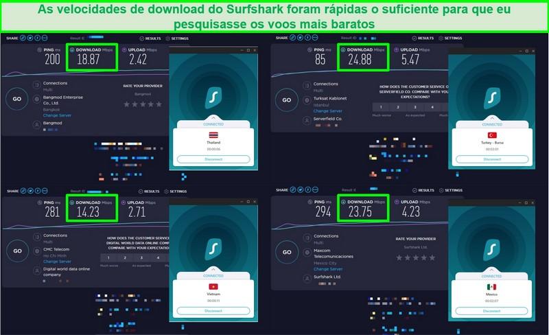Captura de tela de 4 testes de velocidade realizados em diferentes servidores Surfshark