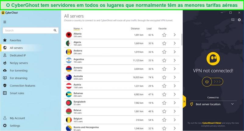 Captura de tela da lista de servidores disponíveis do CyberGhost