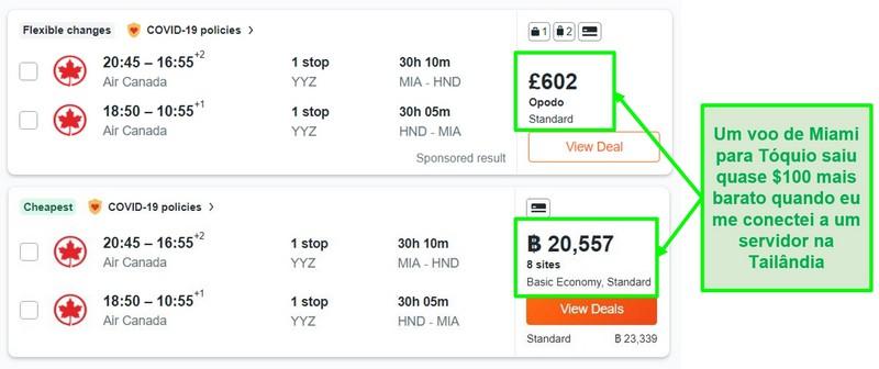 Comparação de preços da rota Miami-Tóquio usando servidores no Reino Unido e na Tailândia