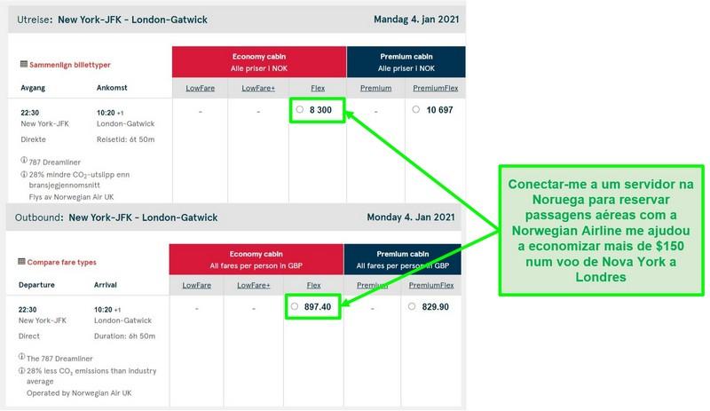 Comparação de preços de voos Nova York-Londres mostrando diferenças enquanto conectado a servidores na Noruega e no Reino Unido