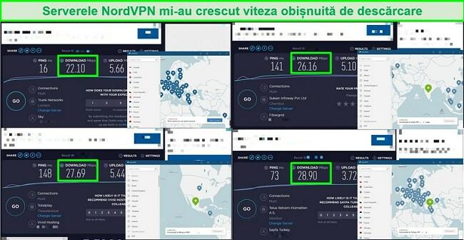 Capturi de ecran cu 4 teste de viteză comparând viteza serverului NordVPN cu viteza regulată a traficului